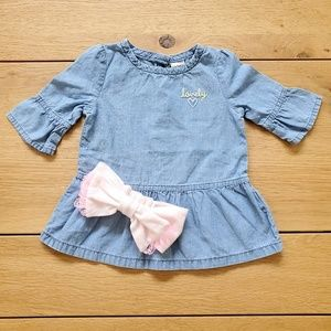 Carter's Chambray Peplum Top & Pink Headband Set
